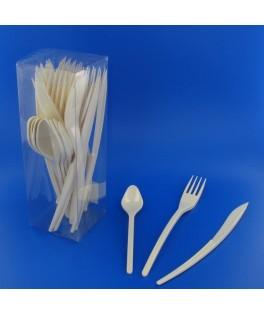Couverts en plastique ivoire  x30