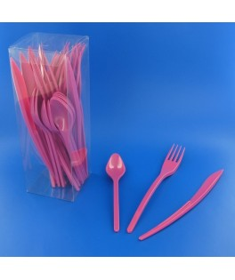 couverts en plastique roses