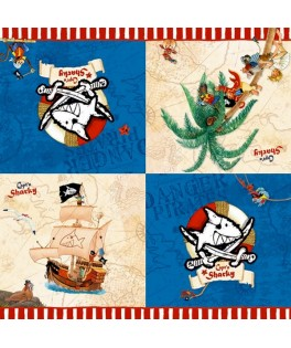 serviettes anniversaire pirate capt'n Sharky