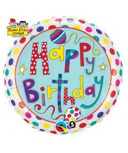 Ballon alu Happy Birthday pois & rayures multicolores Rachel Ellen (18'' - 45 cm)