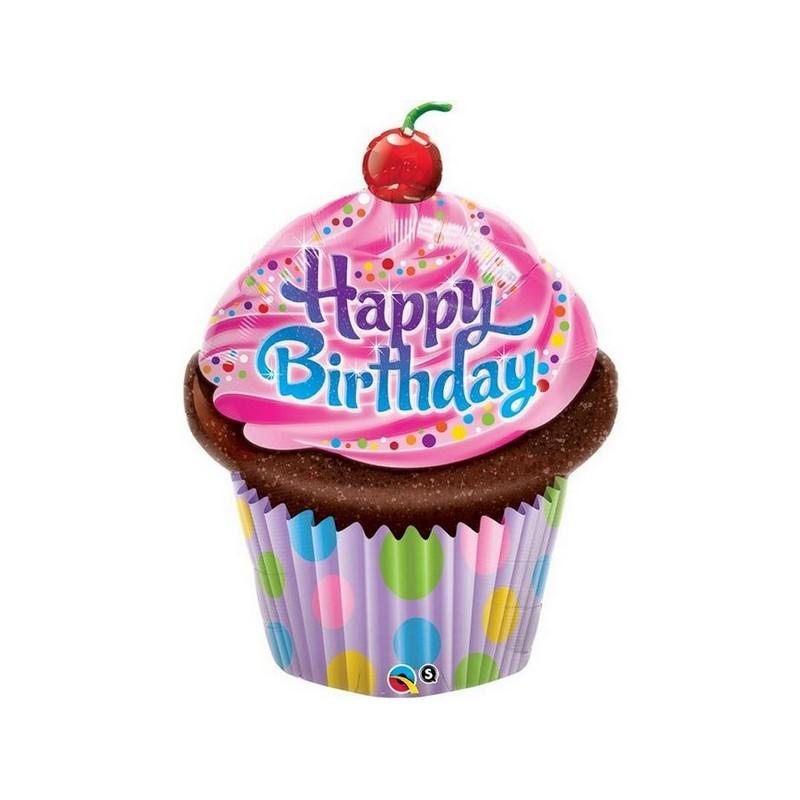 ballon alu cupcake g teau anniversaire 35 39 39 89 cm happy fiesta. Black Bedroom Furniture Sets. Home Design Ideas