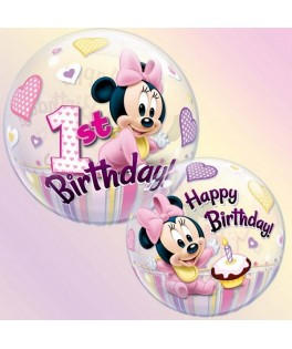 Ballon single Bubble Minnie Mouse 1st Birthday rose