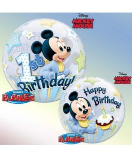 Ballon single Bubble Mickey Mouse 1st Birthday bleu