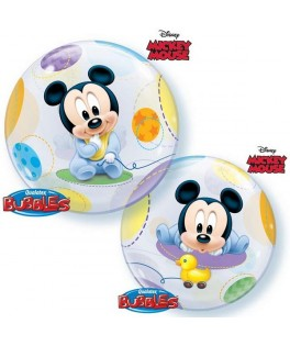 Ballon single Bubble Baby Mickey bleu