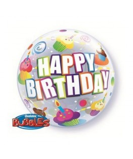 "Ballon single Bubble Happy Birthday Cupcakes (22"" - 56 cm)"