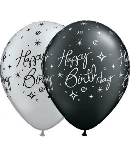 Ballons Happy Birthday Perlés Noir & Argent x25