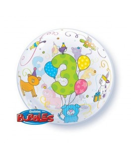 "Ballon single Bubble Age 3 Petits chiots câlins  (22"" - 56 cm)"