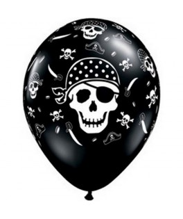 ballons latex pirate tete de mort noir