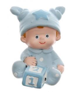 Figurines de baptême garçon bleu ciel  x2