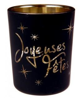 Photophores en verre Joyeuses fêtes  x2