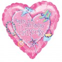 "Ballon alu Cœur ""Happy Birthday Princesse"" (18'' - 45 cm )"