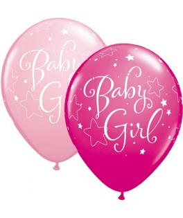 "Ballons latex Baby Baby Girl Rose & Fushia (11"" - 28 cm) x25"