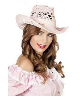 Chapeau Cowboy paille rose façon dentelle