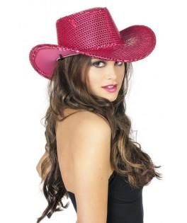Chapeau Cowboy à paillettes fushia
