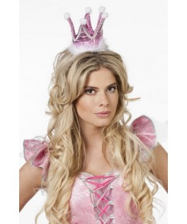 couronne de princesse en tissu rose