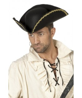 chapeau pirate noir et or homme