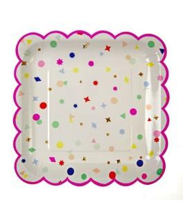 assiettes carrees confettis