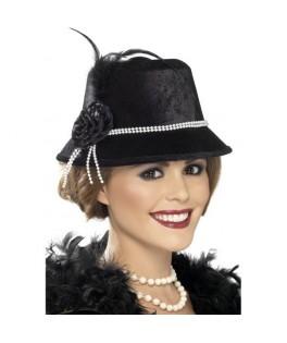 chapeau Années 20 noir perles et plumes