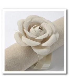 Roses lin uni + ruban  x2