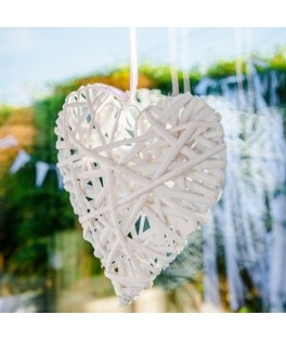 coeur plein osier tresse blanc