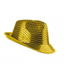 chapeau borsalino sequins jaune