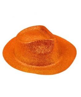 Chapeau Borsalino pailleté  Fluo orange