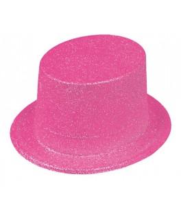 Chapeau Haut de forme pailleté  Fluo rose
