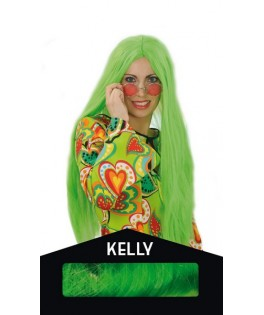 Perruque Kelly Fluo vert  - Boite
