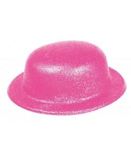 Chapeau Melon pailleté  Fluo rose