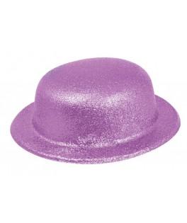 Chapeau Melon pailleté  Fluo violet