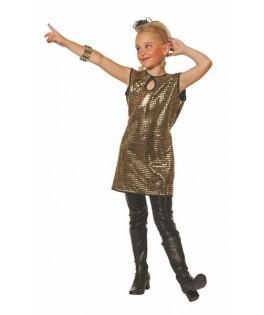 Déguisement robe à paillettes Disco or fille