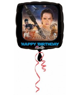 Ballon alu Cubez Star Wars The Force Awakens Happy Birthday (18'' - 45 cm )