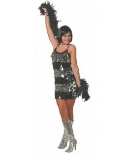 Déguisement robe Disco à franges paillettées noir & argent femme
