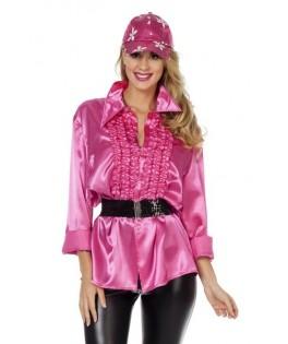 deguisement chemise ruche disco rose