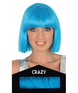 Perruque Crazy turquoise - Boite