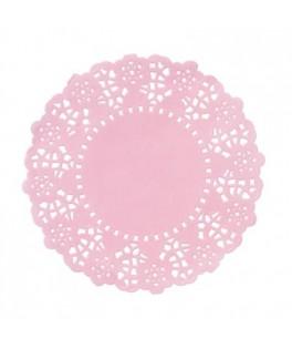 Mini napperons papier roses    x100