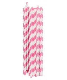 Pailles papier à rayures roses