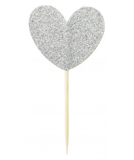 cake toppers coeur argent