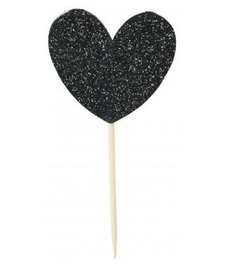 cake toppers coeur noir