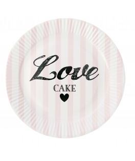 assiettes carton rayures roses mariage saint valentin