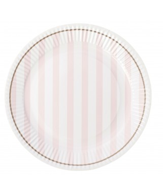 assiettes rayures roses