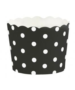 caissettes a cupcake noires a pois blancs
