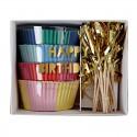 Kit de 48 moules pour cupcakes Happy Birthday