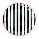 8 Assiettes rondes rayées noir 23 cm