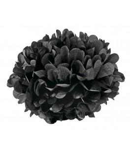 Pompon papier noir - 15 cm