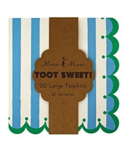 serviettes toot sweet rayees bleu meri meri