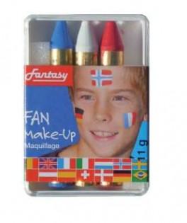 gros crayons de maquillage tricolores bleu blanc rouge x3