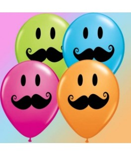 Ballons latex Smile Face Mustache  x50