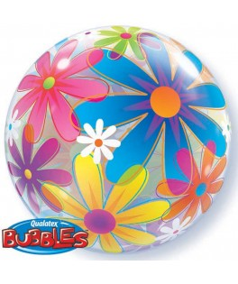 ballon single bubble fleurs multicolores