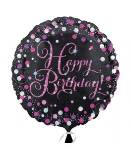 ballon alu happy birthday pois roses
